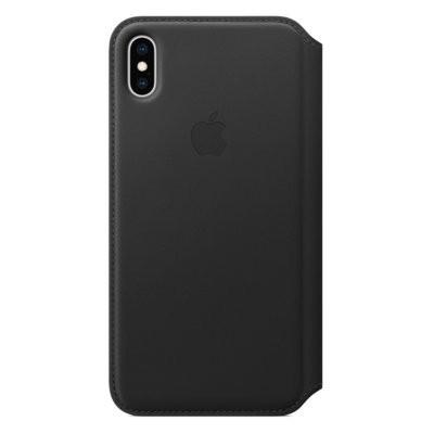 Produkt z outletu: Skórzane etui folio APPLE iPhone XS Max Czarny MRX22ZM/A