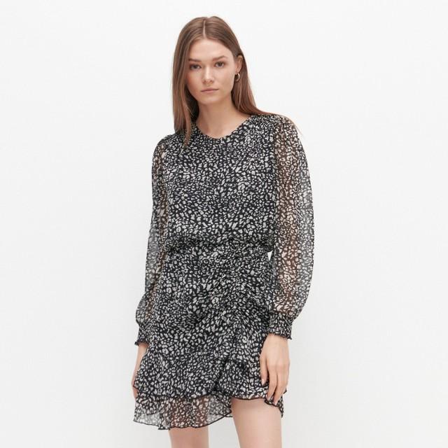 Reserved - Wzorzysta sukienka mini - Wielobarwny