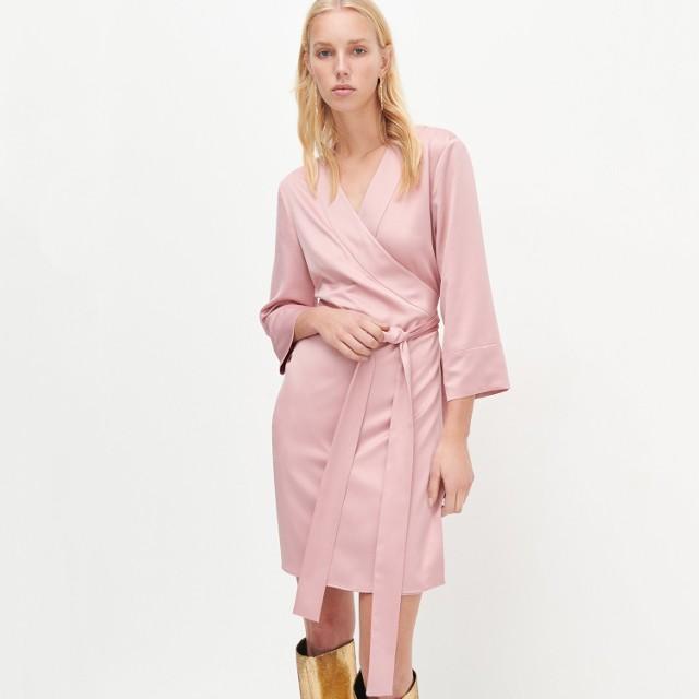 Reserved - Kopertowa sukienka mini - Różowy