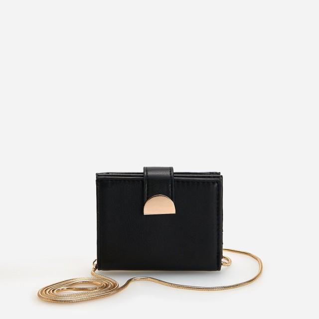 Reserved - Portfel ze złotym łańcuszkiem - Czarny