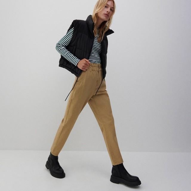 Reserved - Spodnie z wysokim stanem - Beżowy