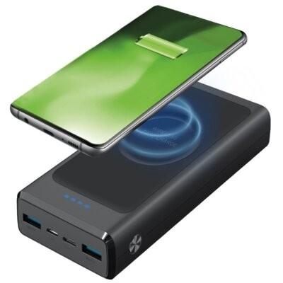 Powerbank indukcyjny SBS Wireless Extra Slim 20000 mAh Czarny