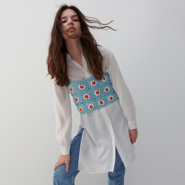 Reserved - Długa koszula z wiskozy - Kremowy