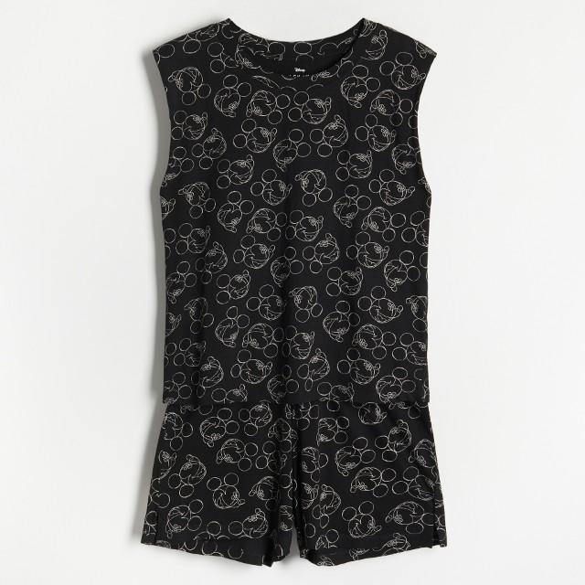 Reserved - Piżama z szortami Myszka Miki - Czarny