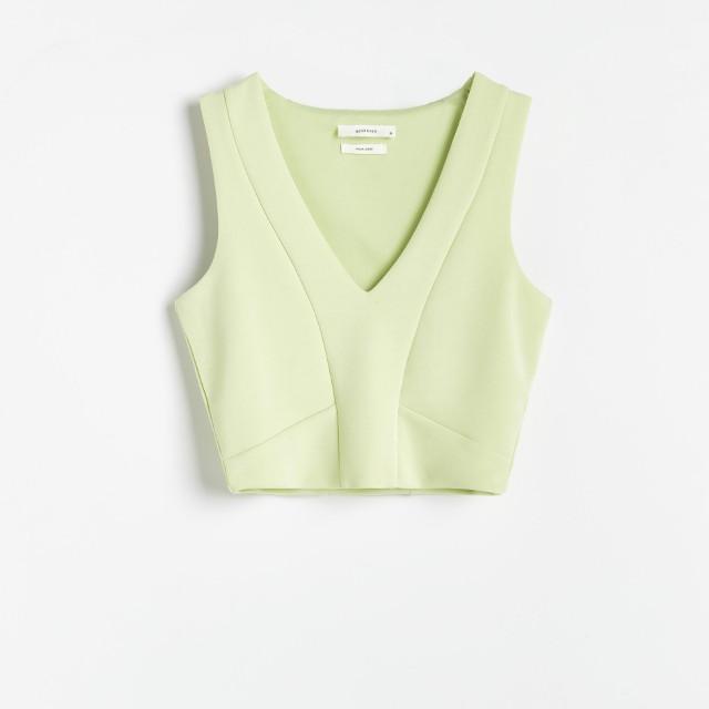 Reserved - Elegancki top z modalem - Zielony