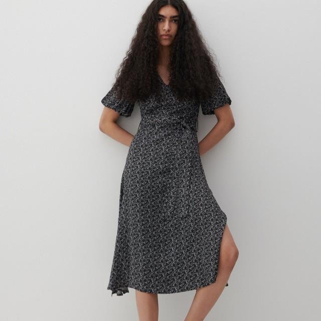 Reserved - Sukienka z drobnym wzorem - Czarny