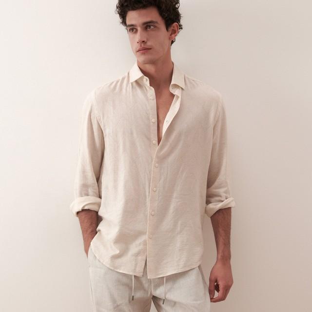 Reserved - Koszula ze strukturalnej tkaniny - Kremowy