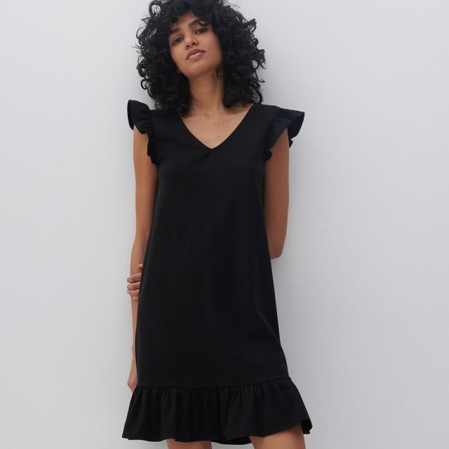 Reserved - Sukienka z falbankami - Czarny