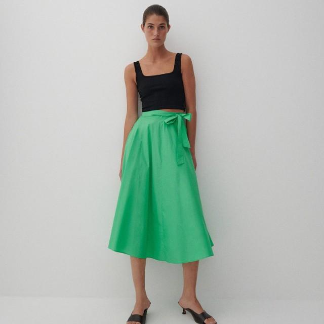 Reserved - Bawełniana spódnica midi - Zielony