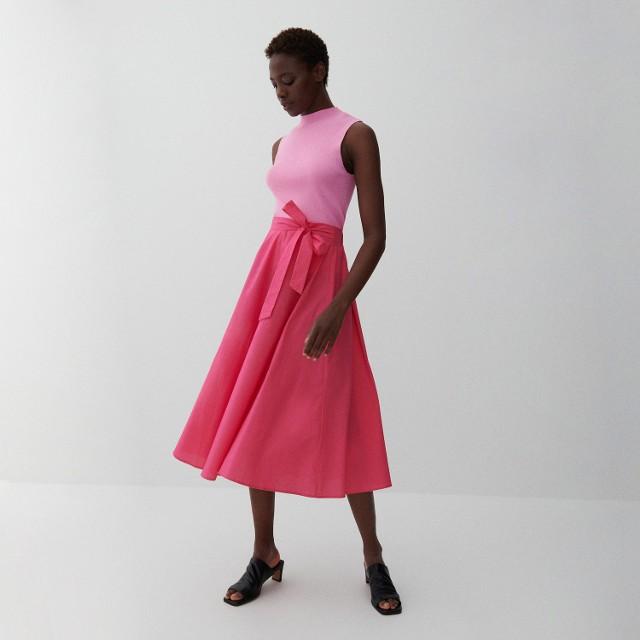 Reserved - Bawełniana spódnica midi - Różowy
