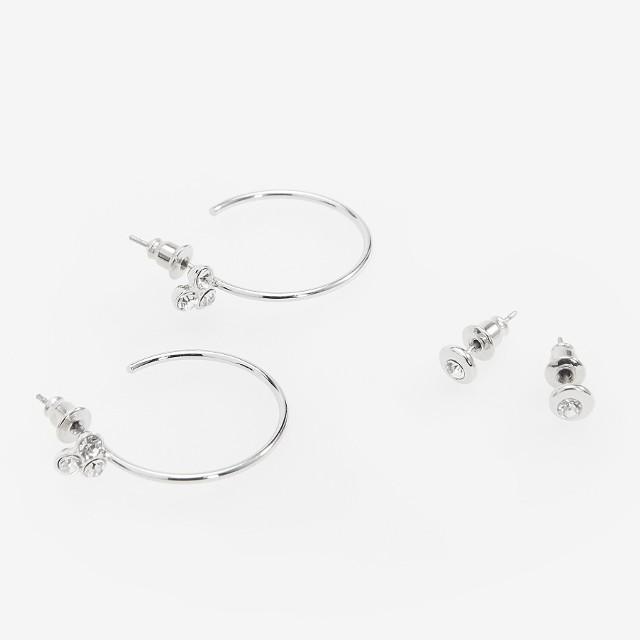 Reserved - Zestaw 2 par kolczyków w srebrnym kolorze - Srebrny