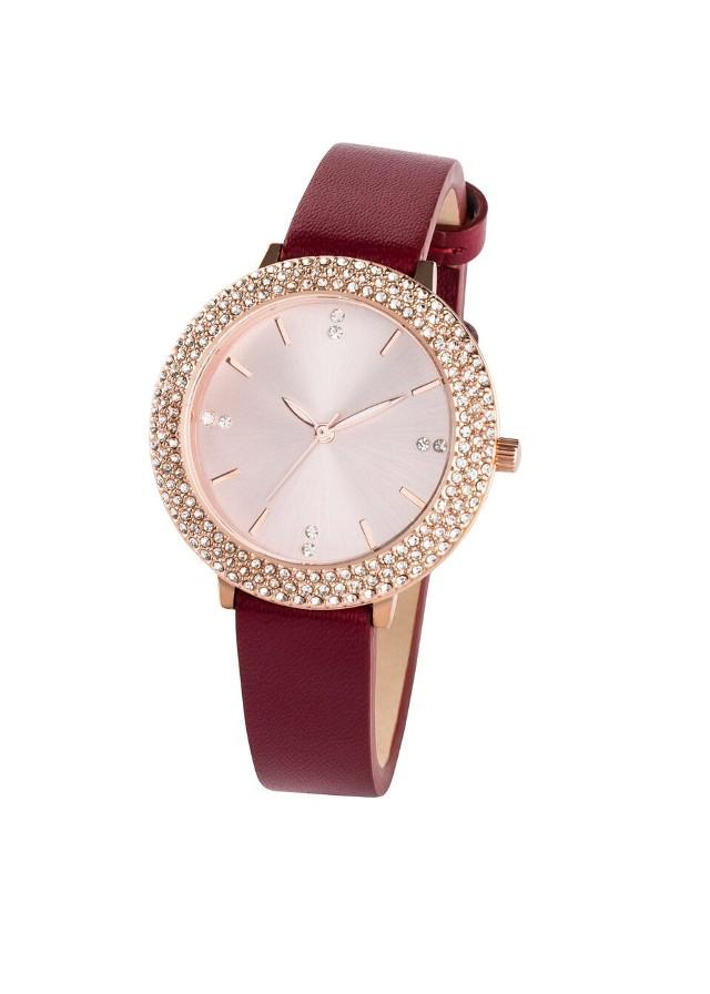 Zegarek na rękę na skórzanym pasku bonprix czerwony rubinowy - w kolorze czerwonego złota