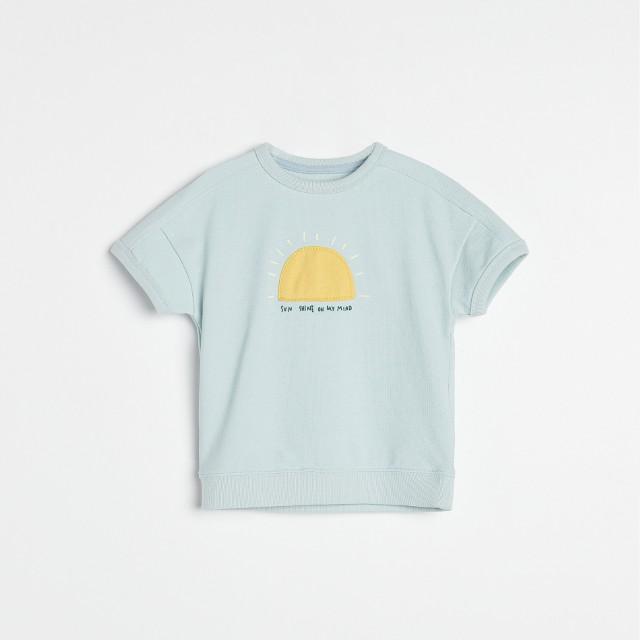 Reserved - Bawełniany t-shirt z aplikacją - Niebieski