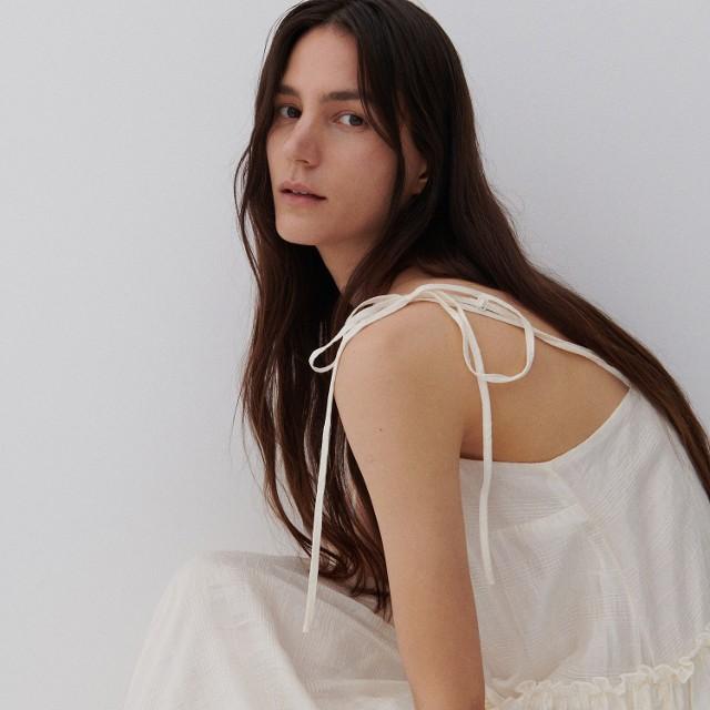 Reserved - PREMIUM Sukienka z Tencel™ Lyocellem - Kremowy