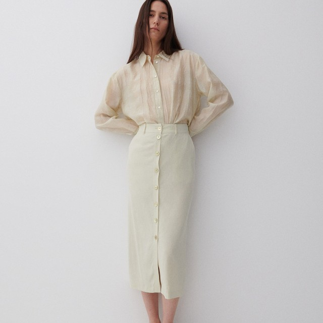 Reserved - PREMIUM Spódnica z lnem i Ecovero™ - Zielony