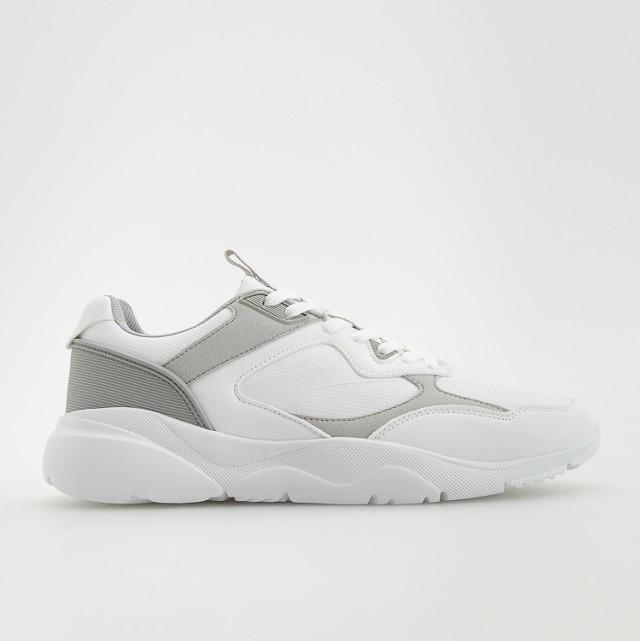 Reserved - Sneakersy z łączonych materiałów - Biały