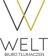 Logo firmy Biuro Tłumaczeń Welt tłumaczenia przysięgłe i zwykłe wszystkich języków