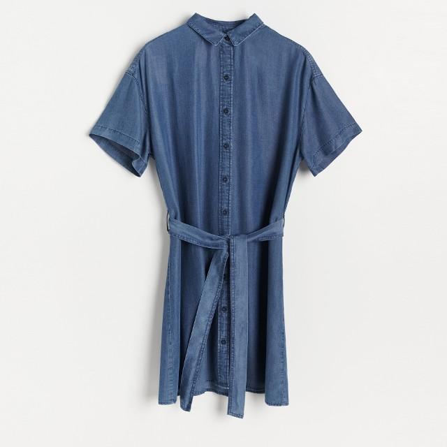 Reserved - Sukienka z Tencel™ Lyocellu - Granatowy