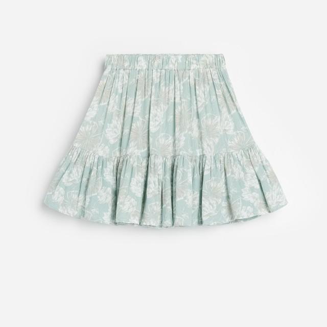 Reserved - Wiskozowa spódnica w kwiaty - Turkusowy