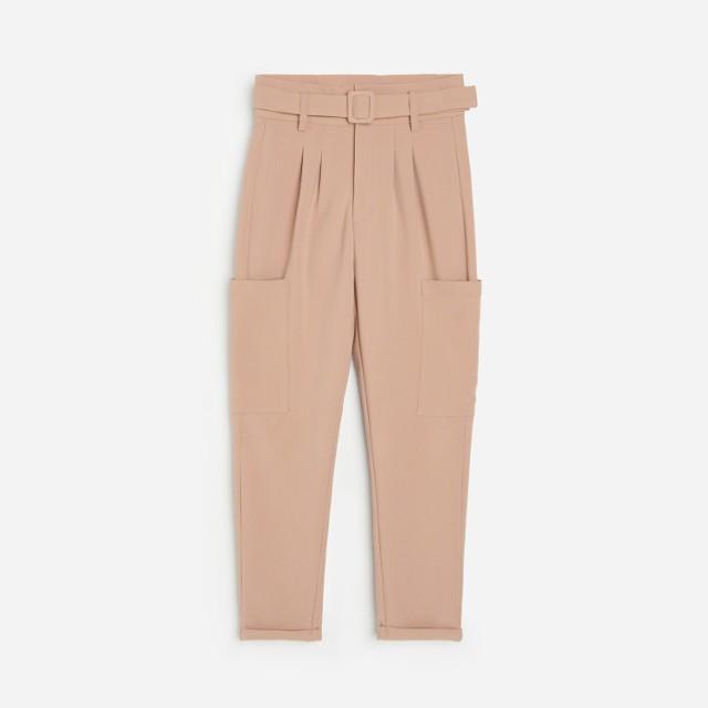 Reserved - Spodnie paperbag z wiskozą - Brązowy