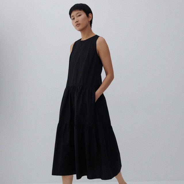 Reserved - Bawełniana sukienka midi - Czarny