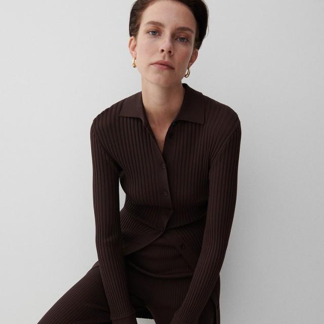 Reserved - Dzianinowy sweter - Brązowy