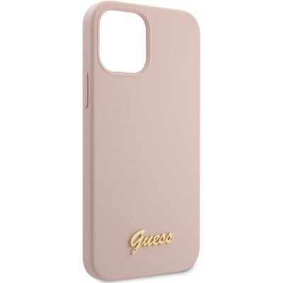 Etui GUESS Silicone Script Gold Logo do Apple iPhone 12/12 Pro Różowy