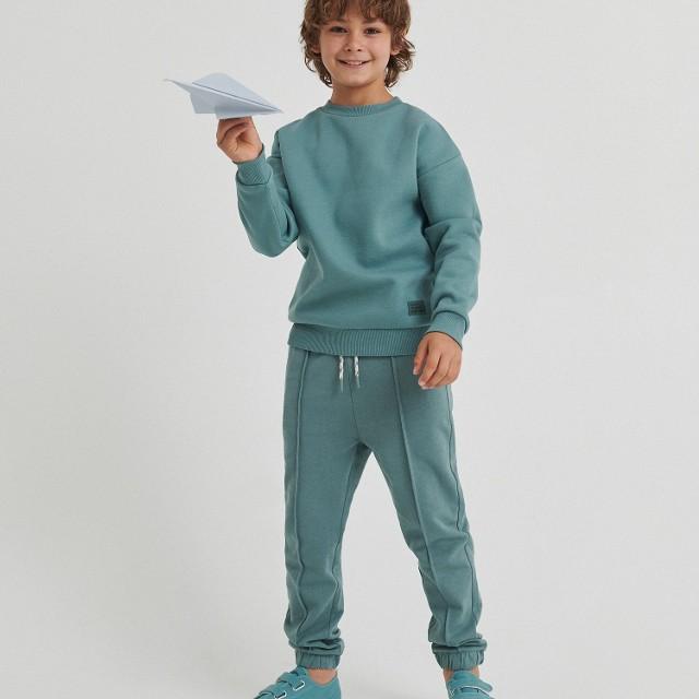 Reserved - Spodnie dresowe z przeszyciami - Turkusowy