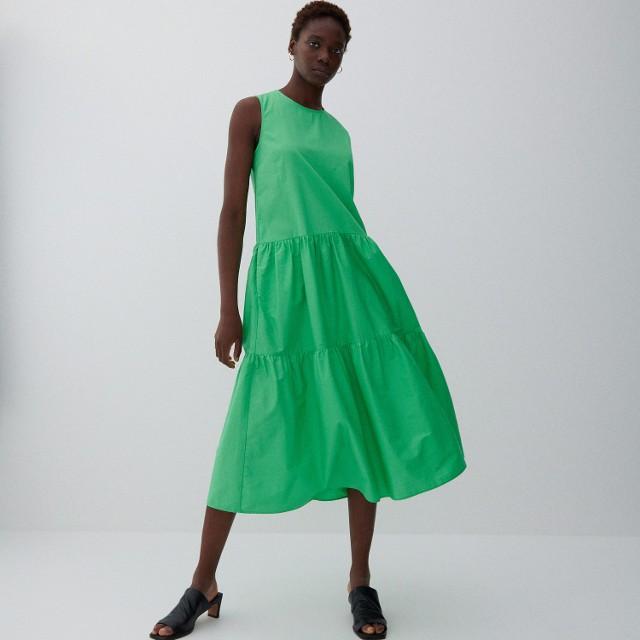 Reserved - Bawełniana sukienka midi - Zielony