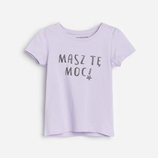Reserved - Bawełniany t-shirt z nadrukiem - Fioletowy