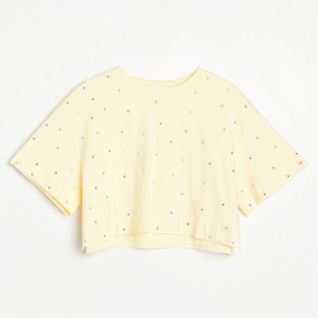 Reserved - Krótki t-shirt z bawełny organicznej - Żółty