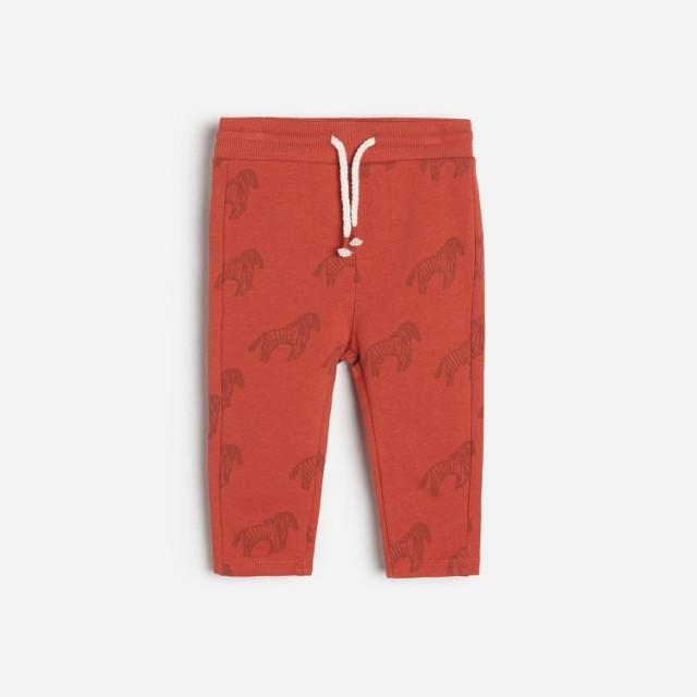 Reserved - Bawełniane spodnie z nadrukiem - Czerwony