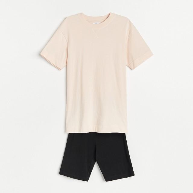 Reserved - Dwuczęściowa piżama - Kremowy