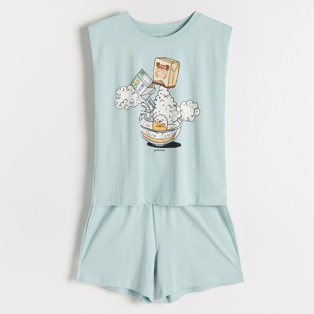 Reserved - Dwuczęściowa piżama z nadrukiem Gudetama - Zielony
