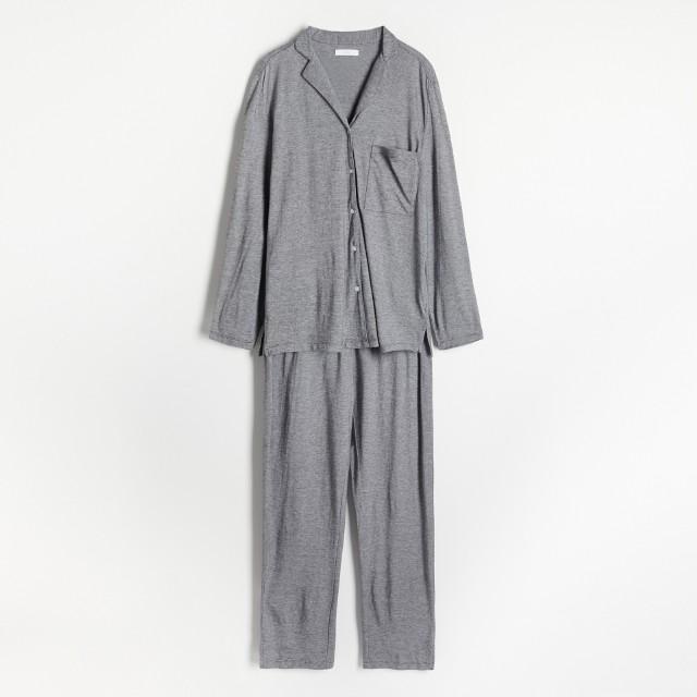 Reserved - Dwuczęściowa piżama z długim rękawem - Czarny