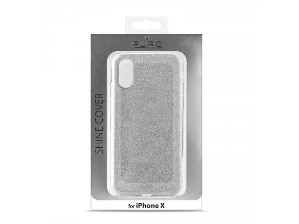 PURO do iPhone X/Xs Glitter Shine Cover (srebrny)