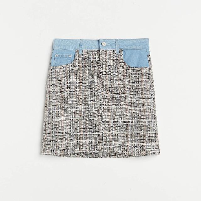 Reserved - Spódnica z łączonych materiałów - Niebieski