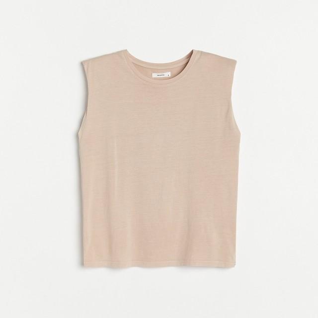 Reserved - T-shirt z poduszkami na ramionach - Beżowy