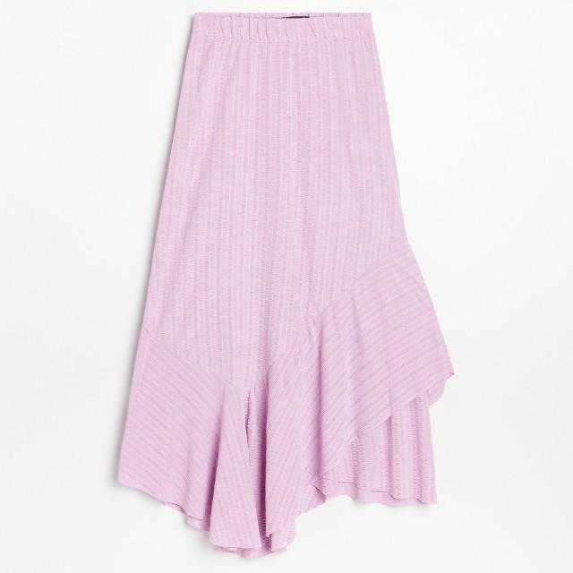 Reserved - Asymetryczna spódnica ze strukturalnej dzianiny - Różowy