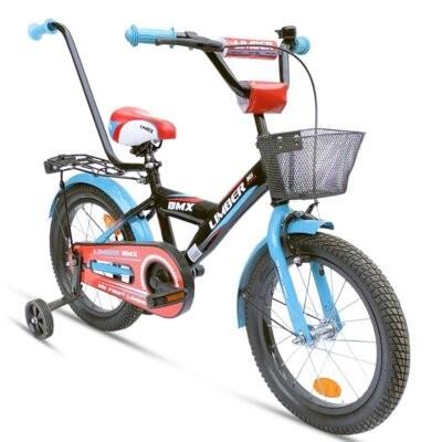 Rower dziecięcy LIMBER Boy 16 cali dla chłopca Czarno-niebiesko-czerwony