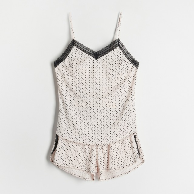 Reserved - Dwuczęściowa piżama w groszki - Kremowy