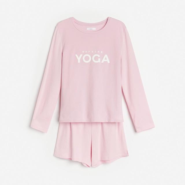Reserved - Bawełniana piżama z napisem - Brązowy