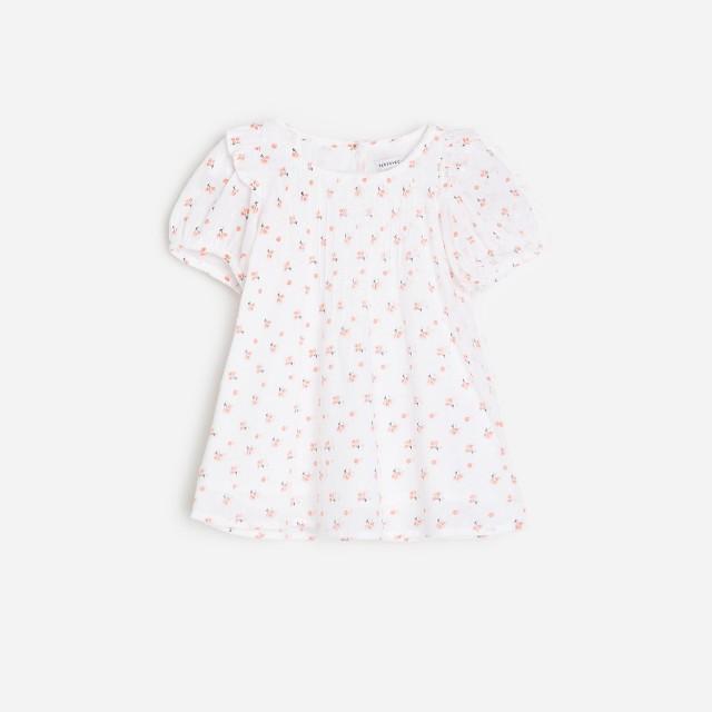 Reserved - Sukienka w kwiaty z tkaniny plumeti - Kremowy