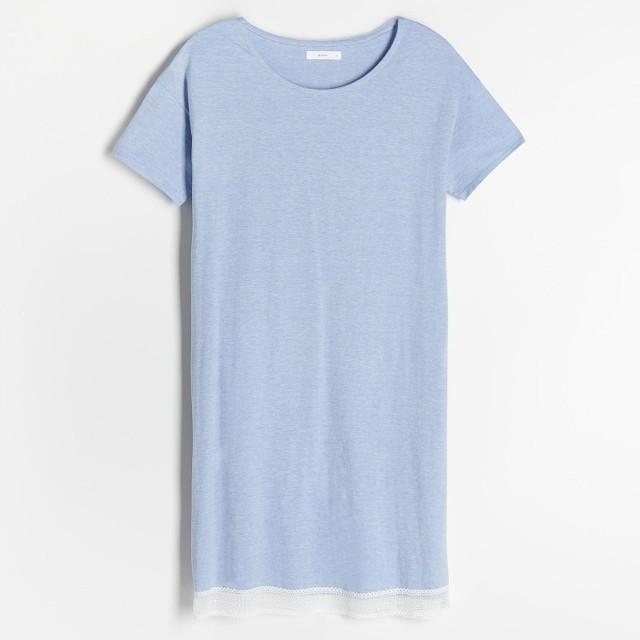 Reserved - Dzianinowa koszula nocna - Niebieski