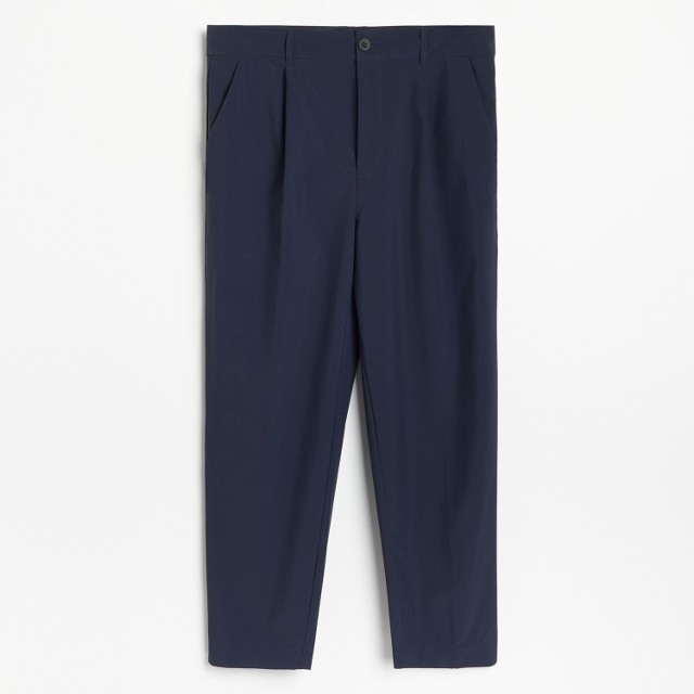 Reserved - PREMIUM Lekkie spodnie z zakładkami - Granatowy