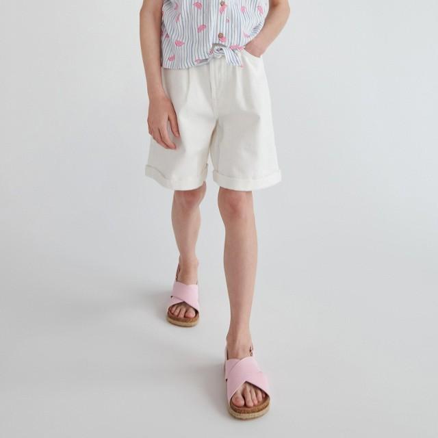 Reserved - Jeansowe szorty z wiązaniem - Kremowy