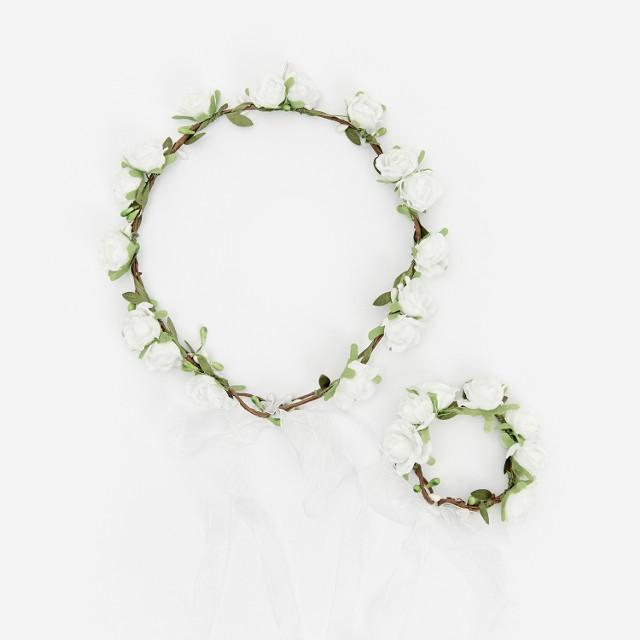 Reserved - Wianek i bransoletka z kwiatami - Biały