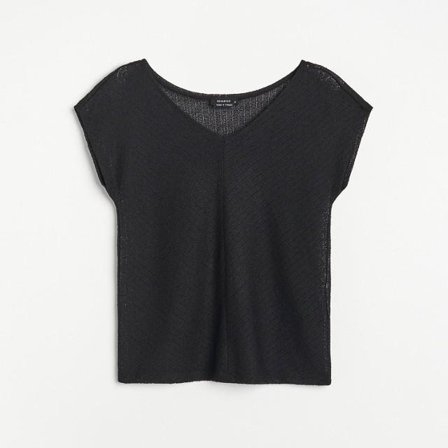 Reserved - T-shirt z dekoltem V - Czarny