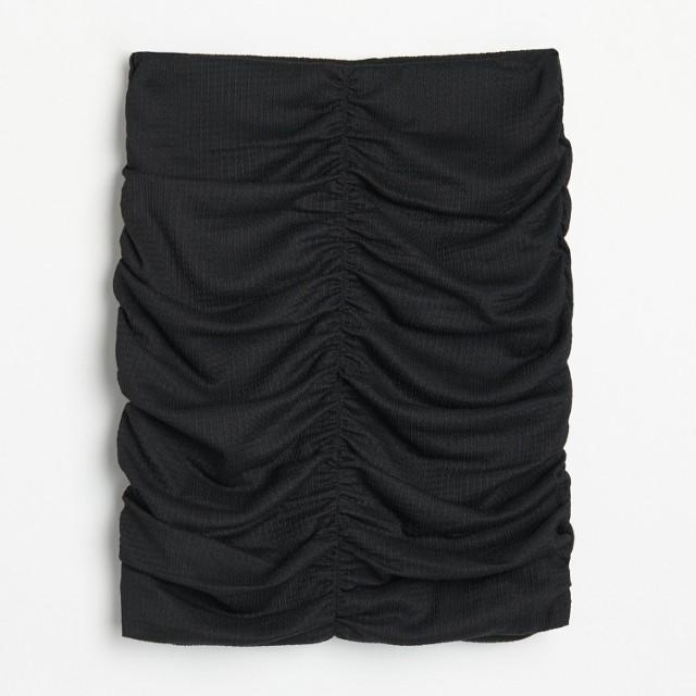 Reserved - Marszczona spódniczka ze strukturalnej dzianiny - Czarny