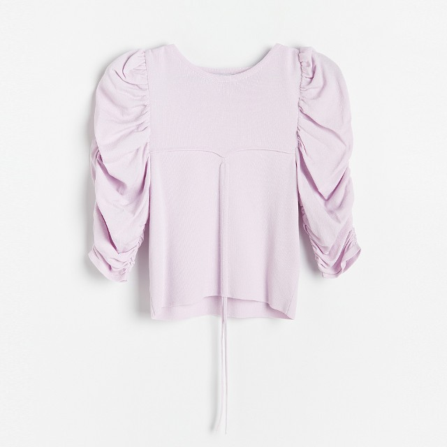 Reserved - Bluzka z bufiastymi rękawami - Fioletowy